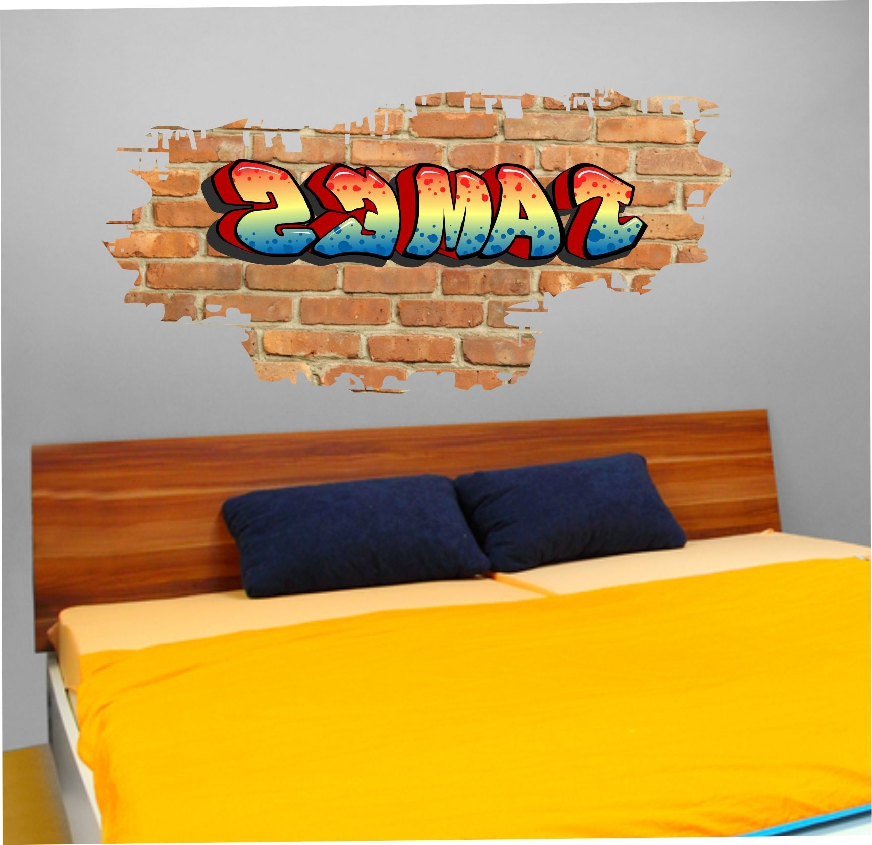 01 Personalised Graffiti Brick & Name Wall Sticker Regarding Personalized Graffiti Wall Art (Gallery 2 of 15)