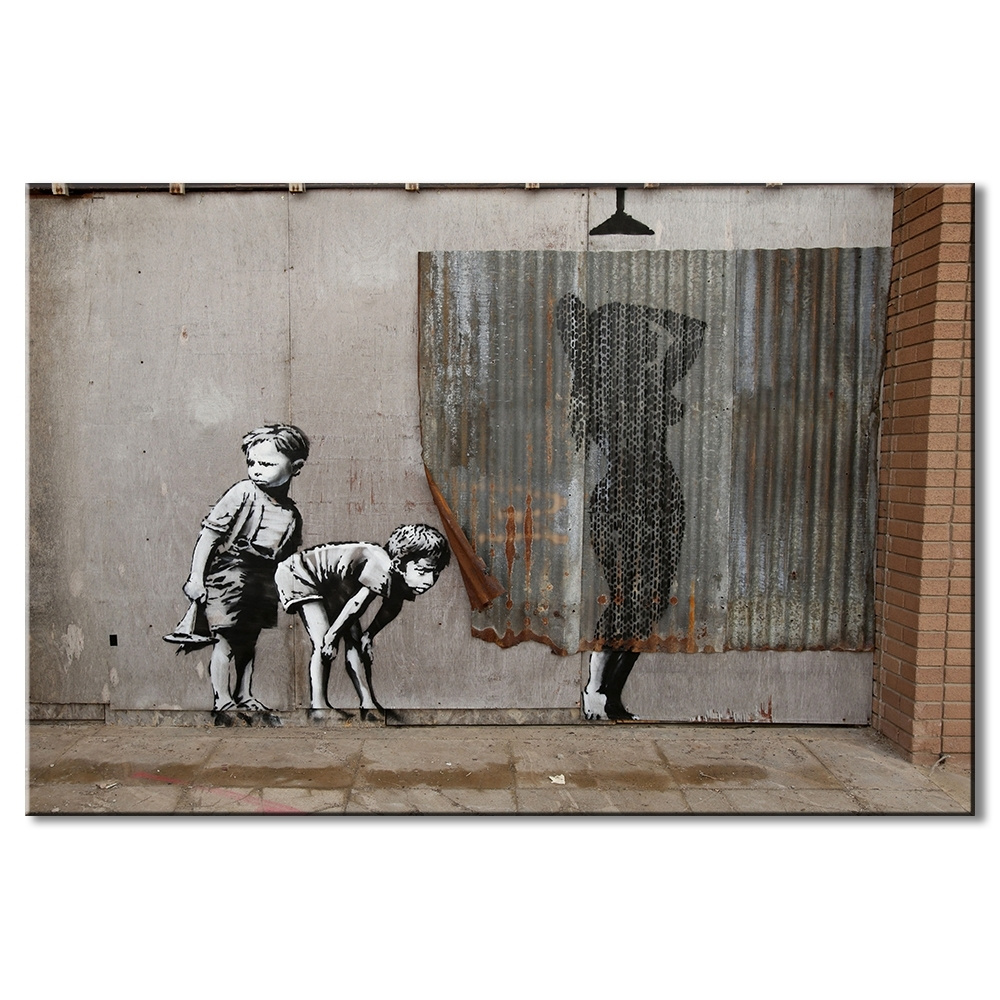 1 Pcs Retro Banksy Art Boys Peeping Canvas Prints Painting Within 2017 Banksy Canvas Wall Art (View 1 of 15)
