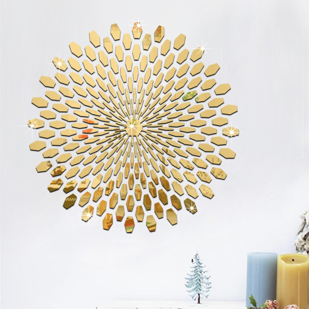 1 Set Fashion Silver Gold Diy 3D Acrylic Mirror Surface Wall Inside Most Up To Date Circles 3D Wall Art (Gallery 7 of 15)