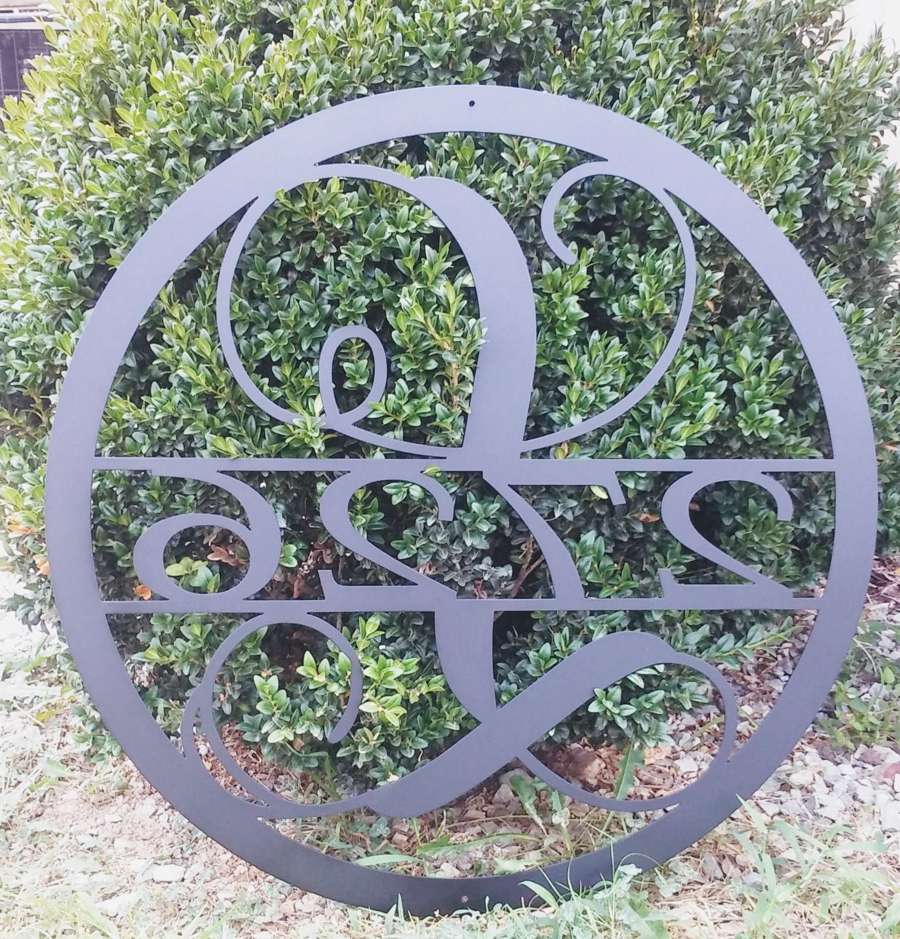 15 Inch Circle Monogram With House Numbers, Metal Wall Art, 15 Regarding Widely Used Monogram Metal Wall Art (View 1 of 15)