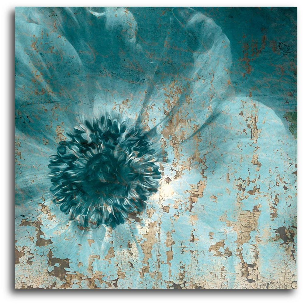 16In. X 16In. Teal Flower Wrapped Canvas Canvas Wall Art Web Sb161 Pertaining To Most Recently Released Brown And Turquoise Wall Art (Gallery 8 of 15)