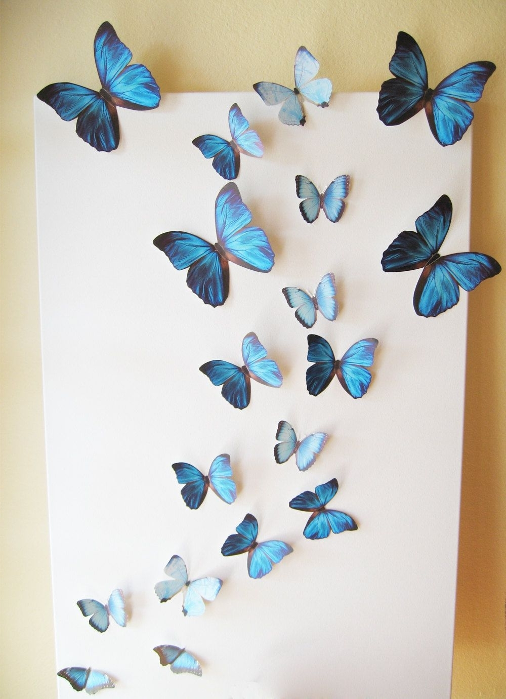 18 Butterflies, Blue, Something Blue, Butterfly, Paper, Wall Decor Regarding 2018 White 3D Butterfly Wall Art (View 1 of 15)