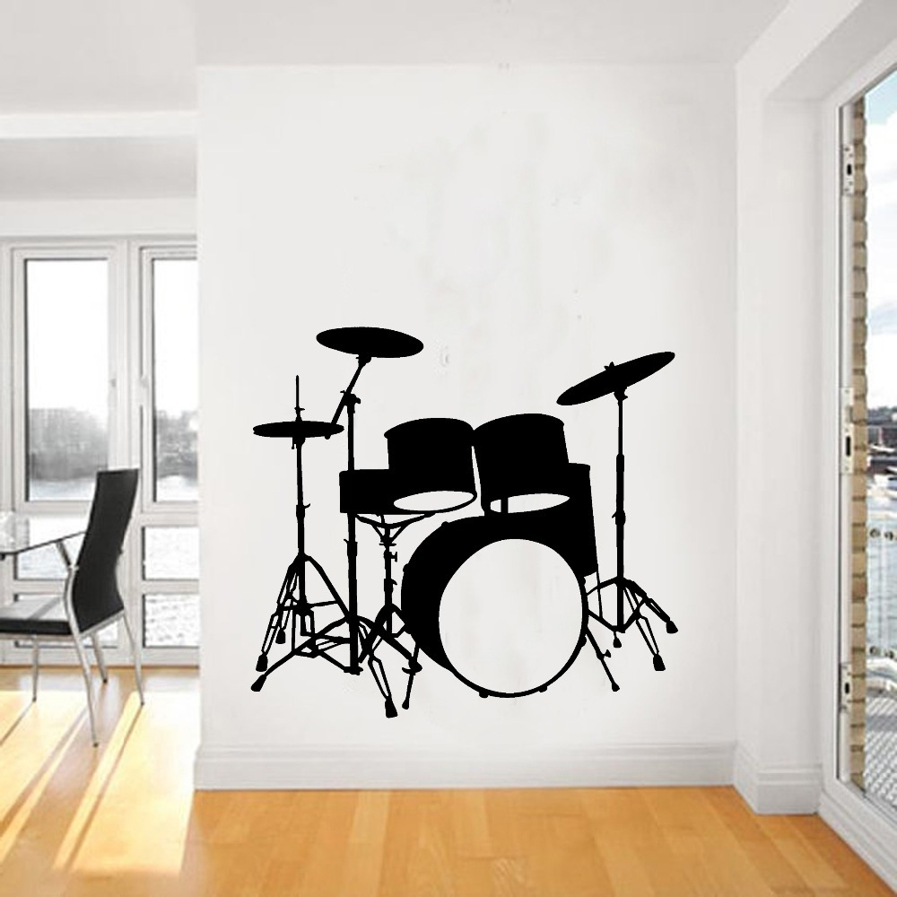 2015 Fashion Music Vinyl Wall Decal Drums Wall Art Musical Throughout Well Liked Musical Instrument Wall Art (View 9 of 15)