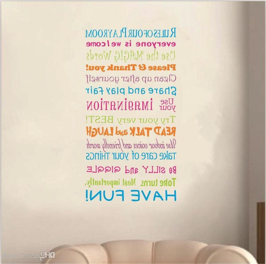 2016 New Playroom Rules Wall Quote Decal Decor Kids Room Lettering With Regard To Current Playroom Rules Wall Art (View 1 of 15)