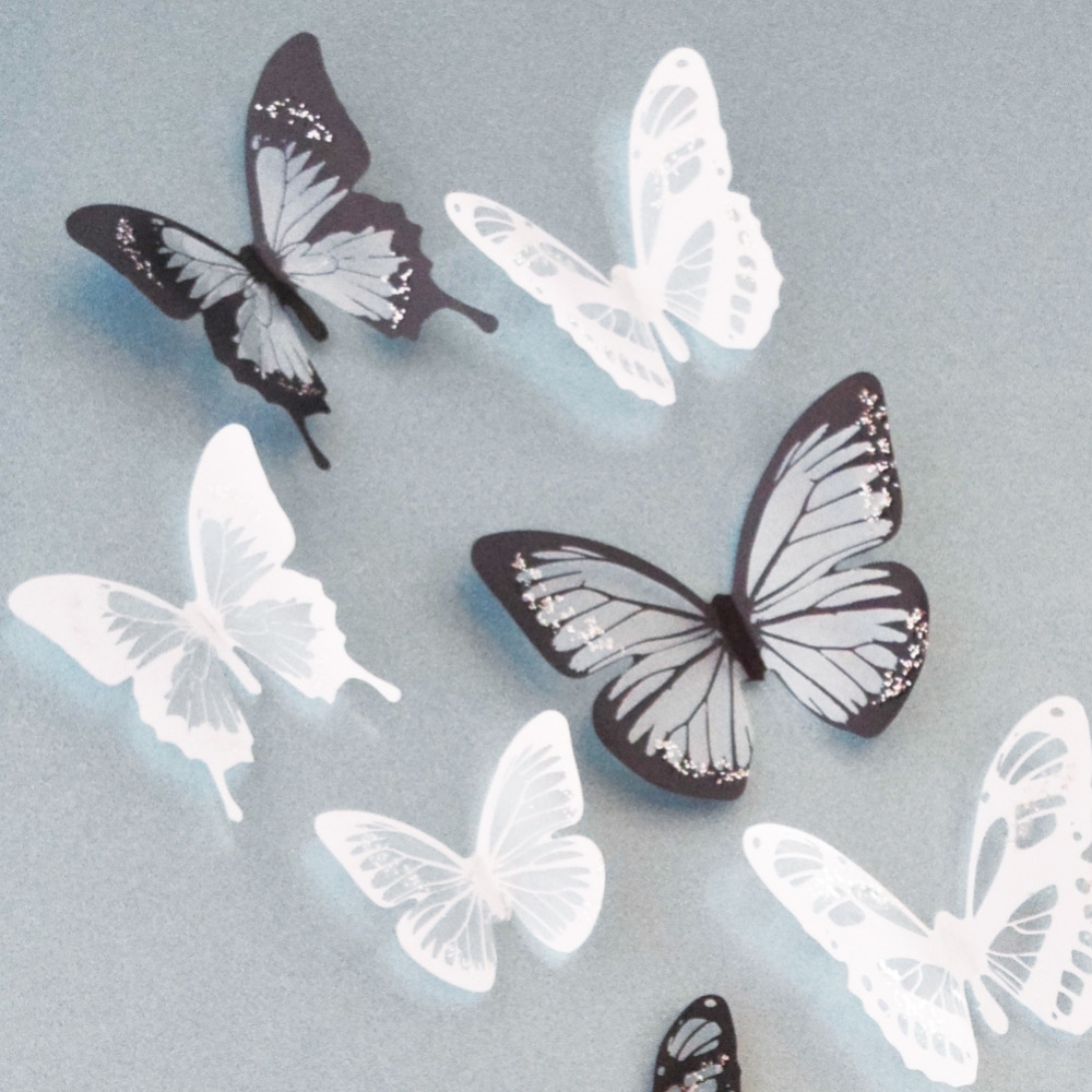 2017 18Pcs Black And White Crystal Butterfly 3D Wall Stickers Pvc In Butterflies 3D Wall Art (View 2 of 15)