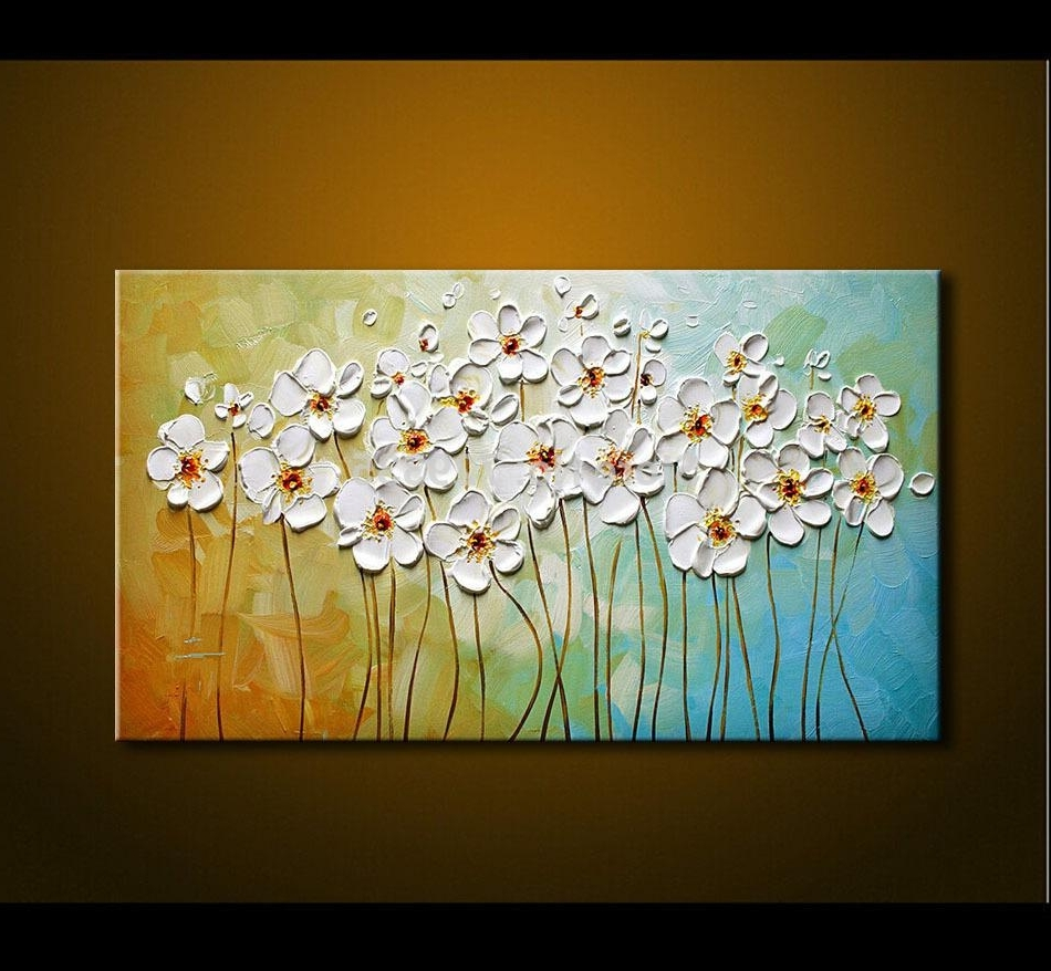 2017 2018 Hand Painted Textured Palette Knife White Flowers Oil Within Oil Painting Wall Art On Canvas (View 1 of 15)