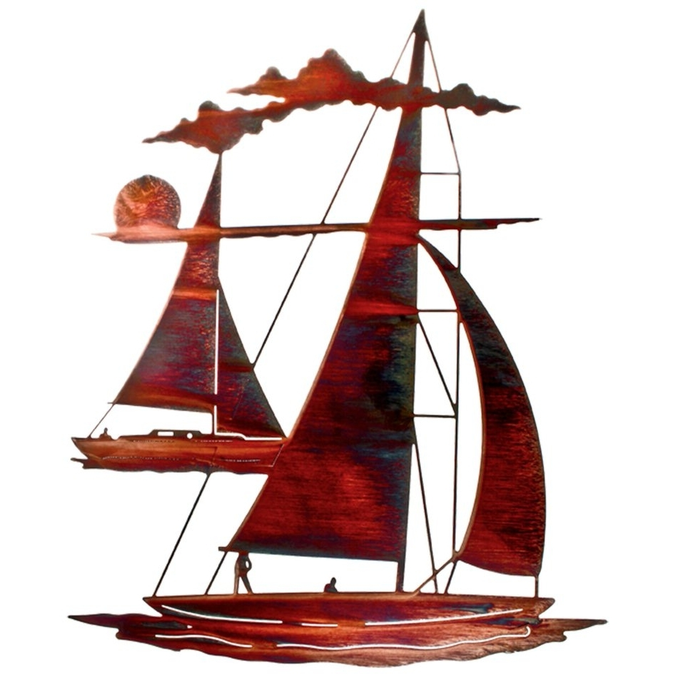 "2017 24"" Catch 'n Sail Floating Sailboat Metal Wall Art – Nautical Wall In Metal Sailboat Wall Art (View 1 of 15)"