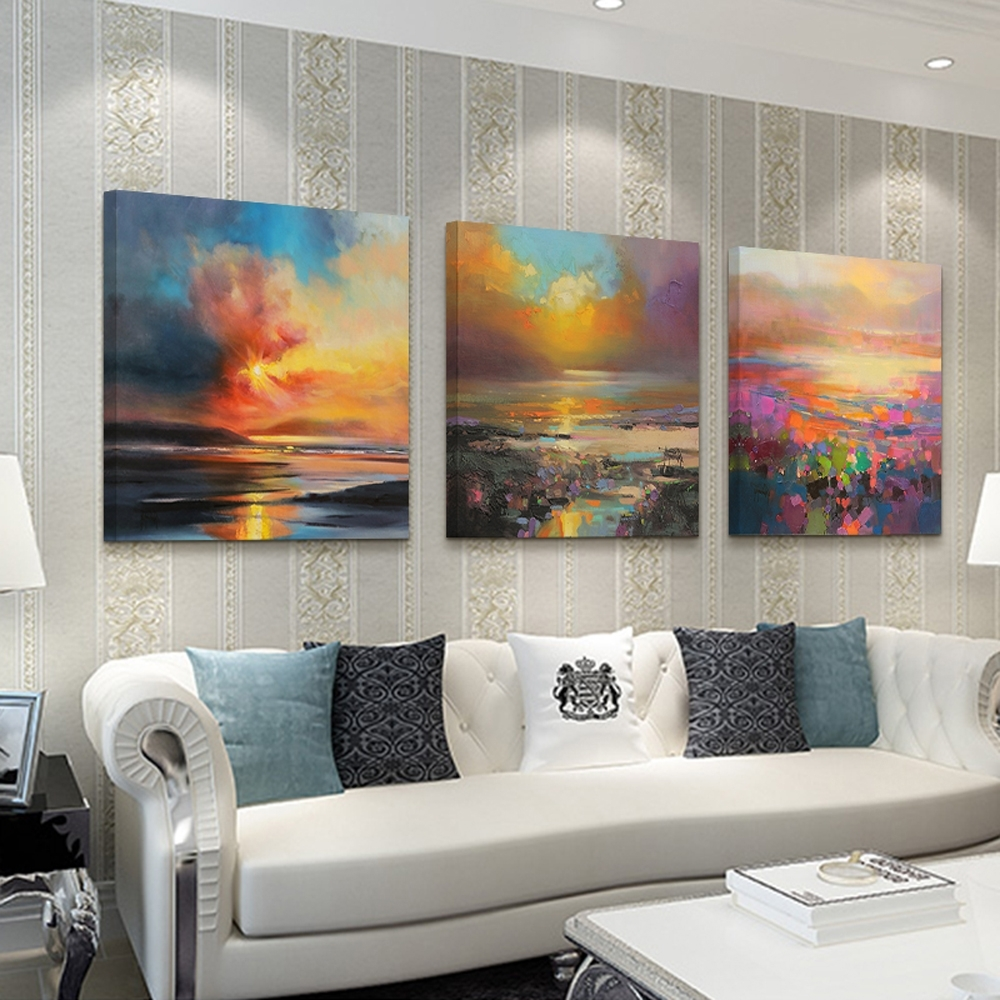 2017 3 Piece Abstract Wall Art Canvas Sunset Beach Prints Modern Wall Intended For 3 Piece Abstract Wall Art (View 2 of 15)