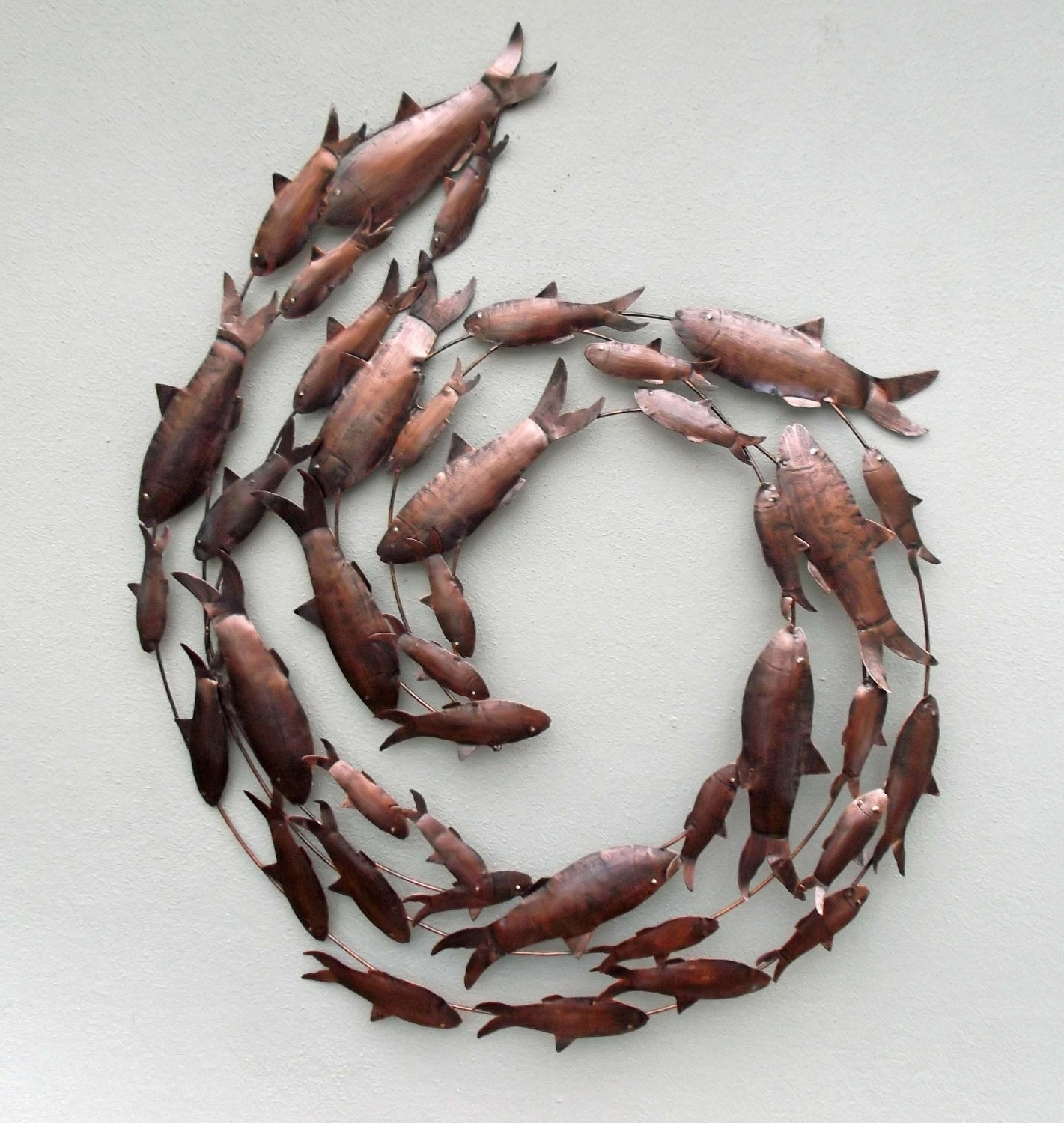 2017 3D Circle Wall Art Intended For Buy Metal Hand Crafted Fish Circle Antique Copper Finish Metal (View 2 of 15)