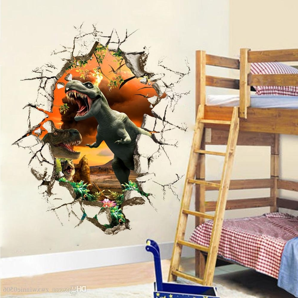 2017 3D Dinosaur Wall Stickers Decals For Kids Rooms Art For Baby For 3D Dinosaur Wall Art Decor (View 2 of 15)