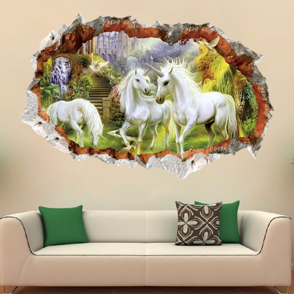 2017 3D Horse Wall Art Intended For 3D Wall Brick Pattern White Horse Wall Stickers For Kids Rooms (View 1 of 15)