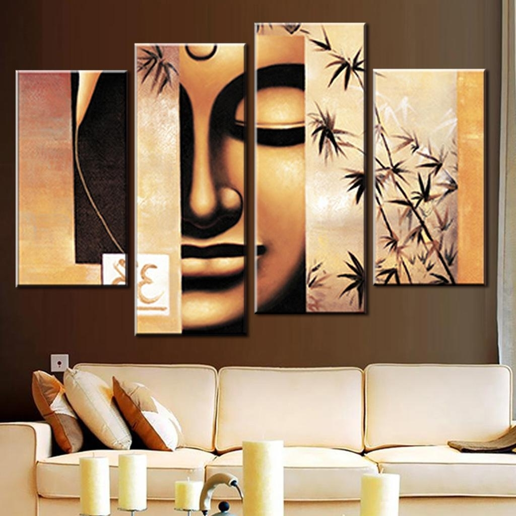 2017 4 Pcs/set Still Life Buddha Canvas Print Painting Retro Classical  Within Abstract Buddha