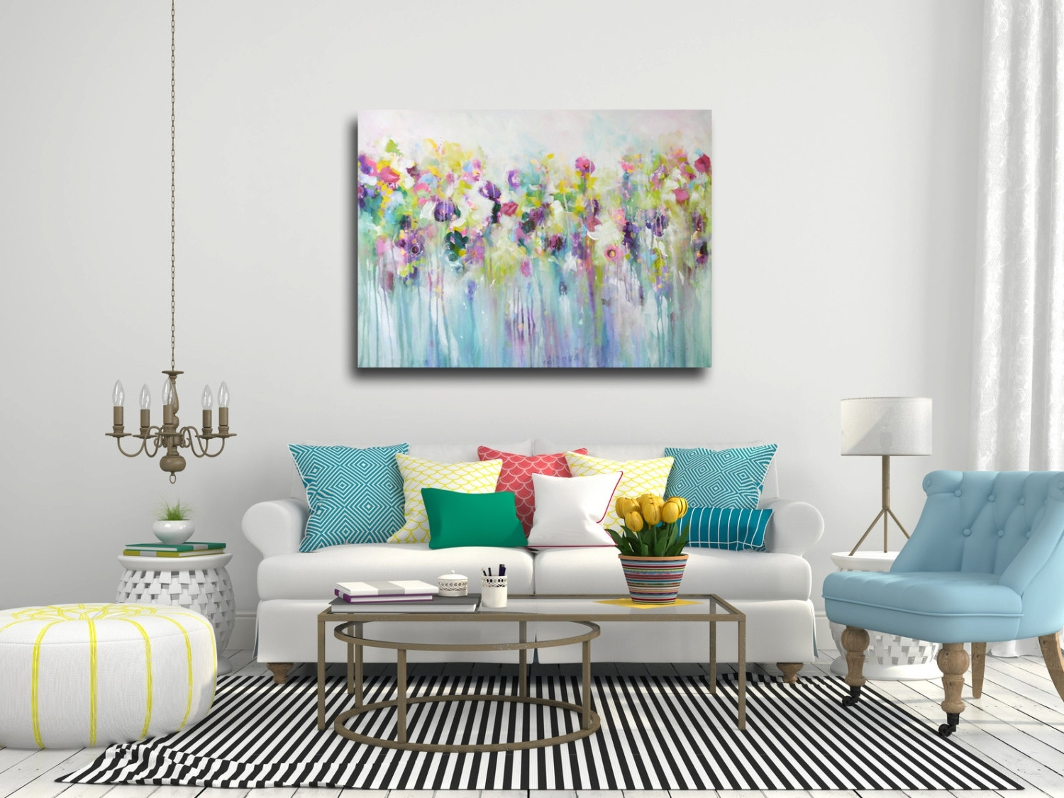 2017 Abstract Flower Wall Art With Regard To Fresh Inspiration Floral Wall Art With Large Canvas Abstract Print (View 3 of 15)