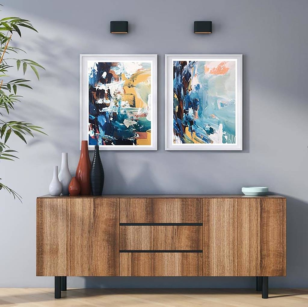 2017 Abstract Wall Art Prints Inside Abstract Art Set Of Two Art Prints Abstract Wall Artomar Obaid (View 1 of 15)