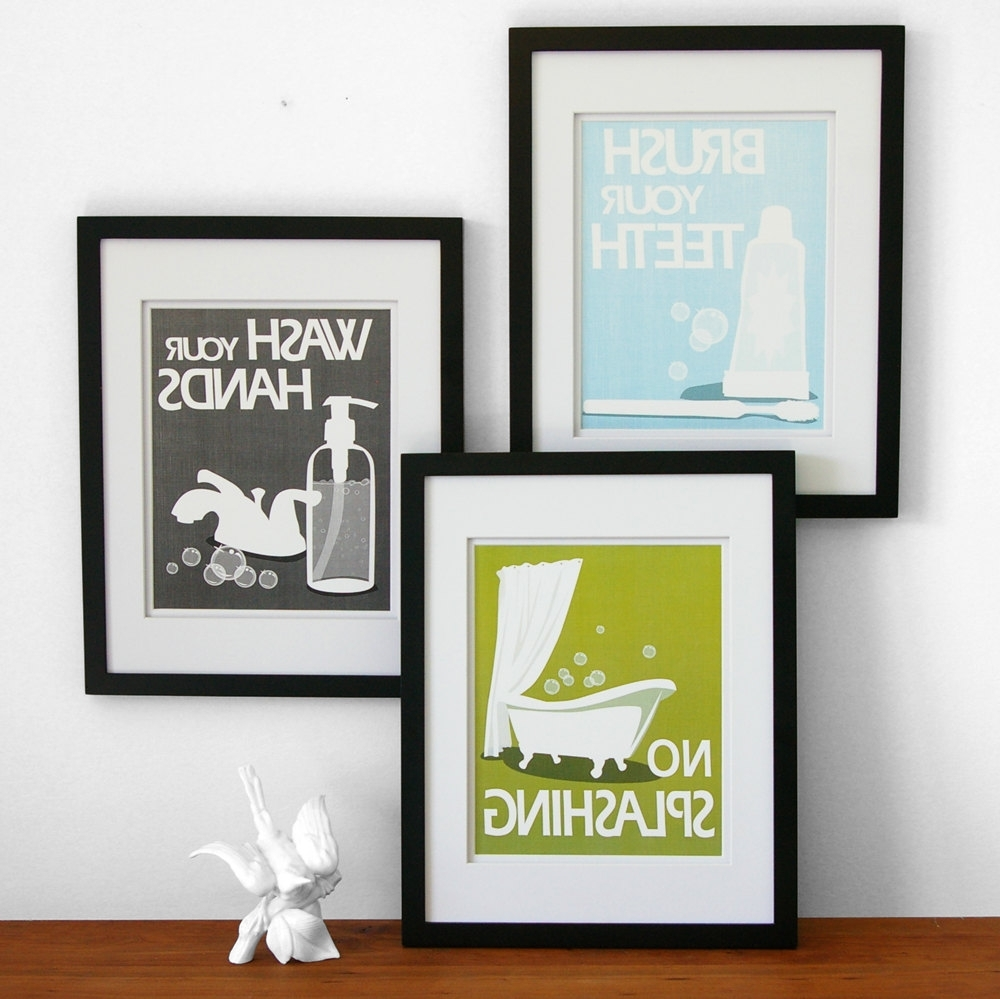 2017 Bathroom Art Prints, Wash Your Hands, Brush Your Teeth, Children's Inside Wall Art For The Bathroom (View 1 of 15)