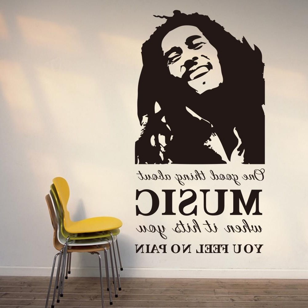 2017 Bob Marley Wall Art With Vinyl Wall Art Stickers One Good Thing About Music Bob Marley (View 1 of 15)