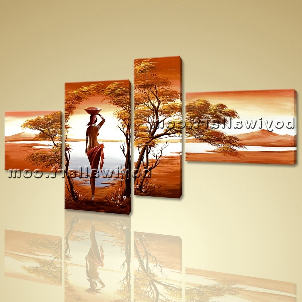 2017 Canvas Wall Art Prints 4 Pieces Abstract Landscape Sunet Harvest Lady Pertaining To Canvas Landscape Wall Art (View 1 of 15)
