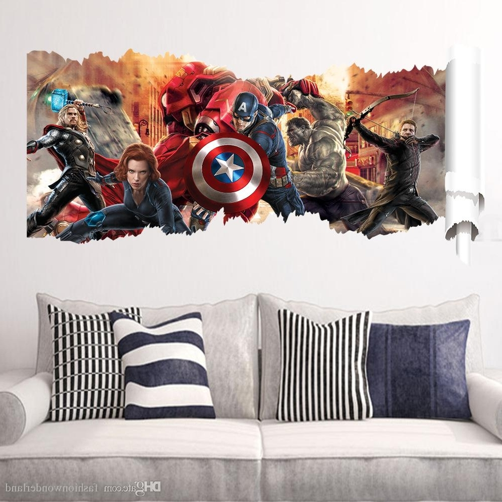 2017 Captain America 3d Wall Art Throughout Captain America The Hulk Wall Stickers Super Hero Justice League (View 10 of 15)