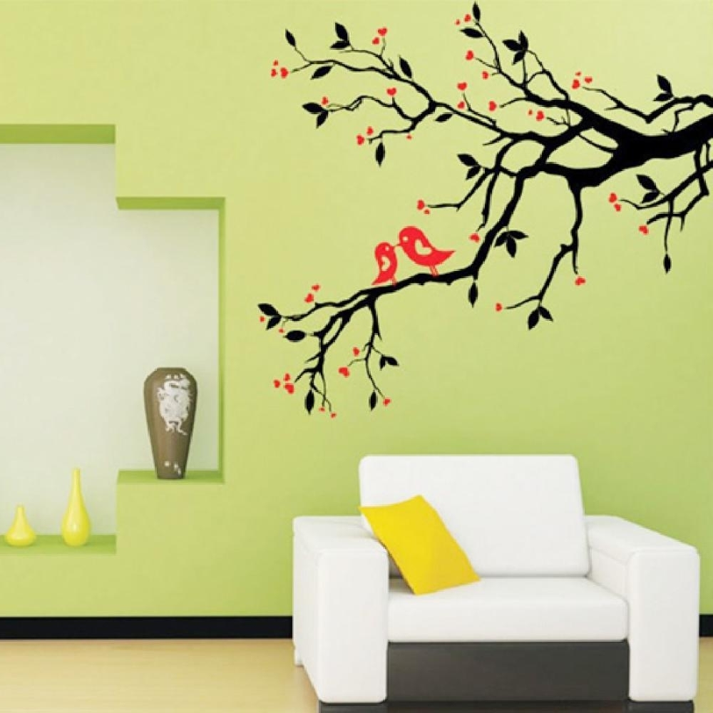 2017 Cherry Blossom Vinyl Wall Art In Tree Branch Love Birds Cherry Blossom Wall Decor Decals Removable (View 9 of 15)