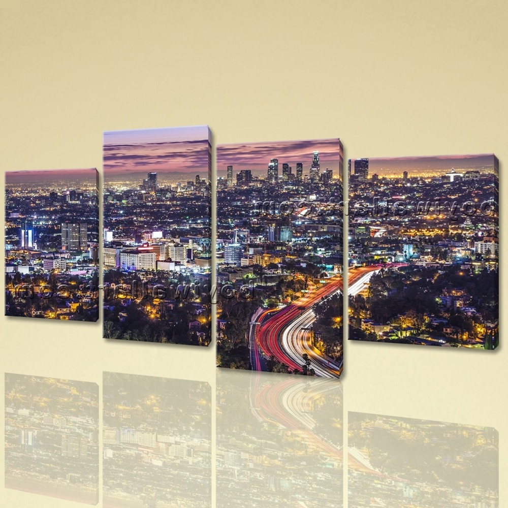 2017 Cityscape Canvas Wall Art Intended For Large Los Angeles Skyline Cityscape On Canvas Giclee Print Wall (View 1 of 15)
