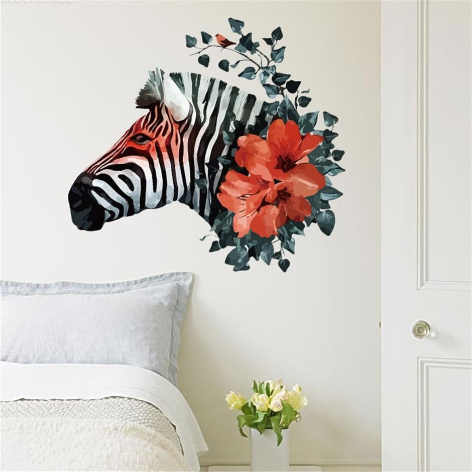 2017 Creative Flower Zebra Head Wall Stickers For Living Room Wall For Zebra 3D Wall Art (View 1 of 15)