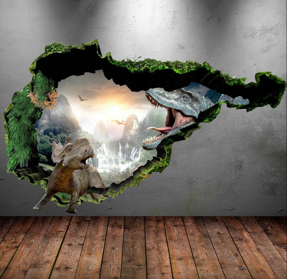 2017 Dinosaur Wall Decal Wall Stickers Full Colour 3D Dinosaur T Rex In 3D Dinosaur Wall Art Decor (View 3 of 15)