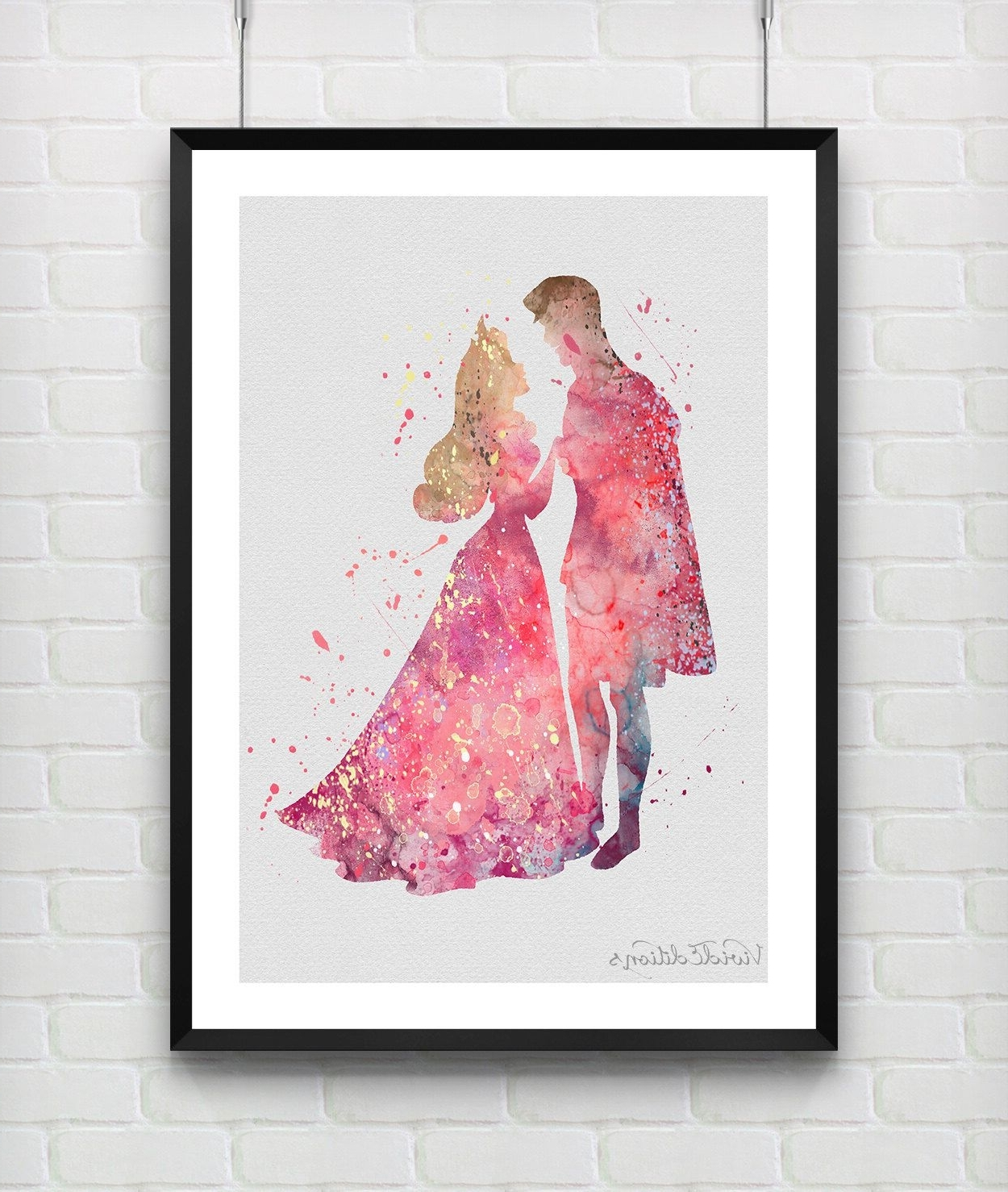2017 Disney Princess Framed Wall Art Inside Princess Aurora & Prince Philip Sleeping Beauty Disney Watercolor (View 1 of 15)