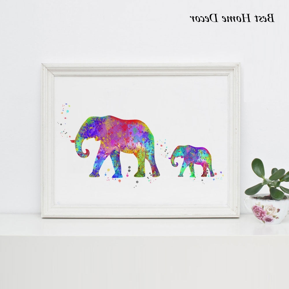 2017 Elephant Art Print Watercolor Baby Elephant Wall Art Wall Hanging Throughout Elephant Wall Art For Nursery (View 1 of 15)