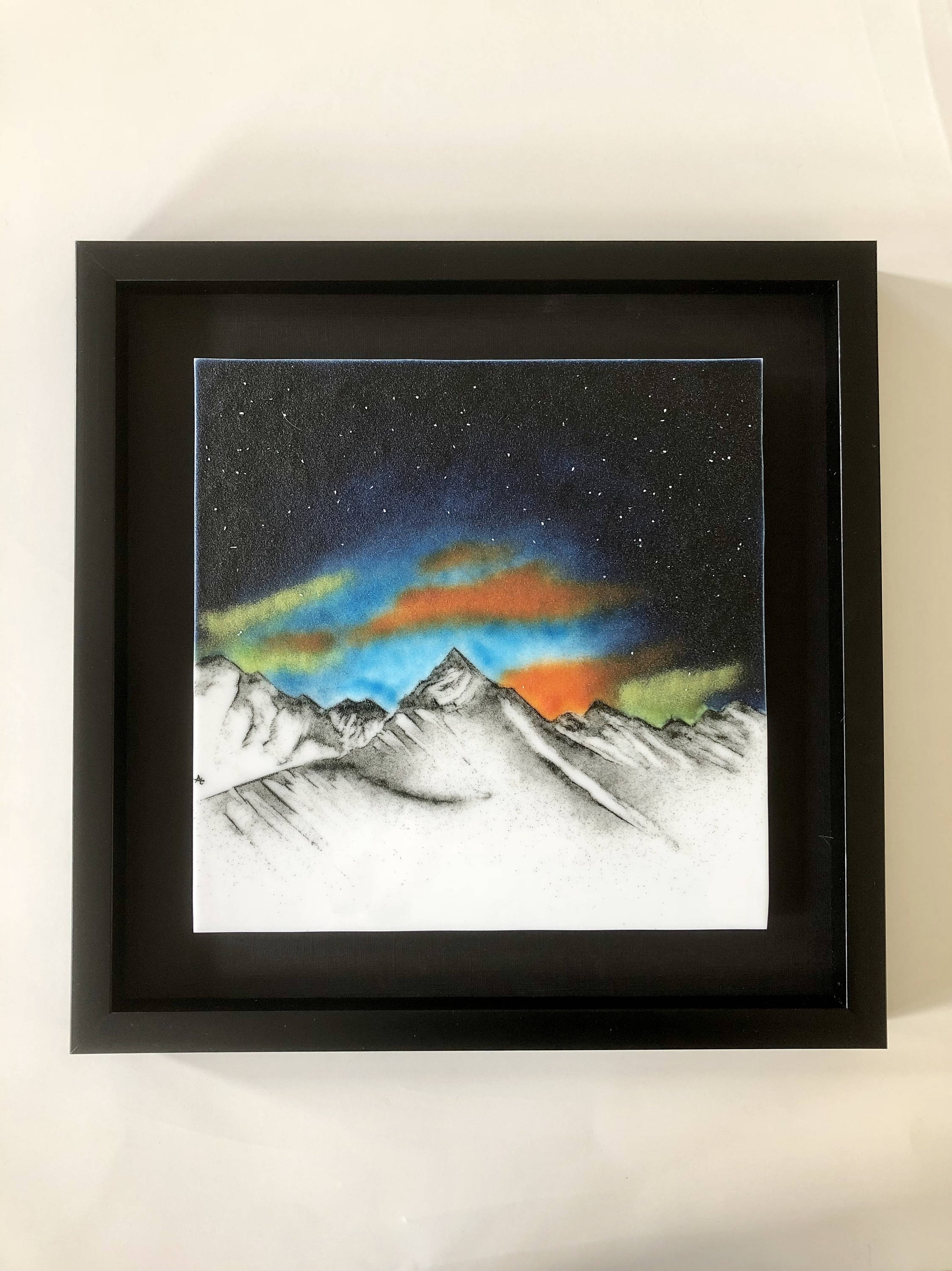 2017 Fused Glass, Handmade, Mountains, Fused Glass Wall Panel, Fused With Framed Fused Glass Wall Art (View 1 of 15)