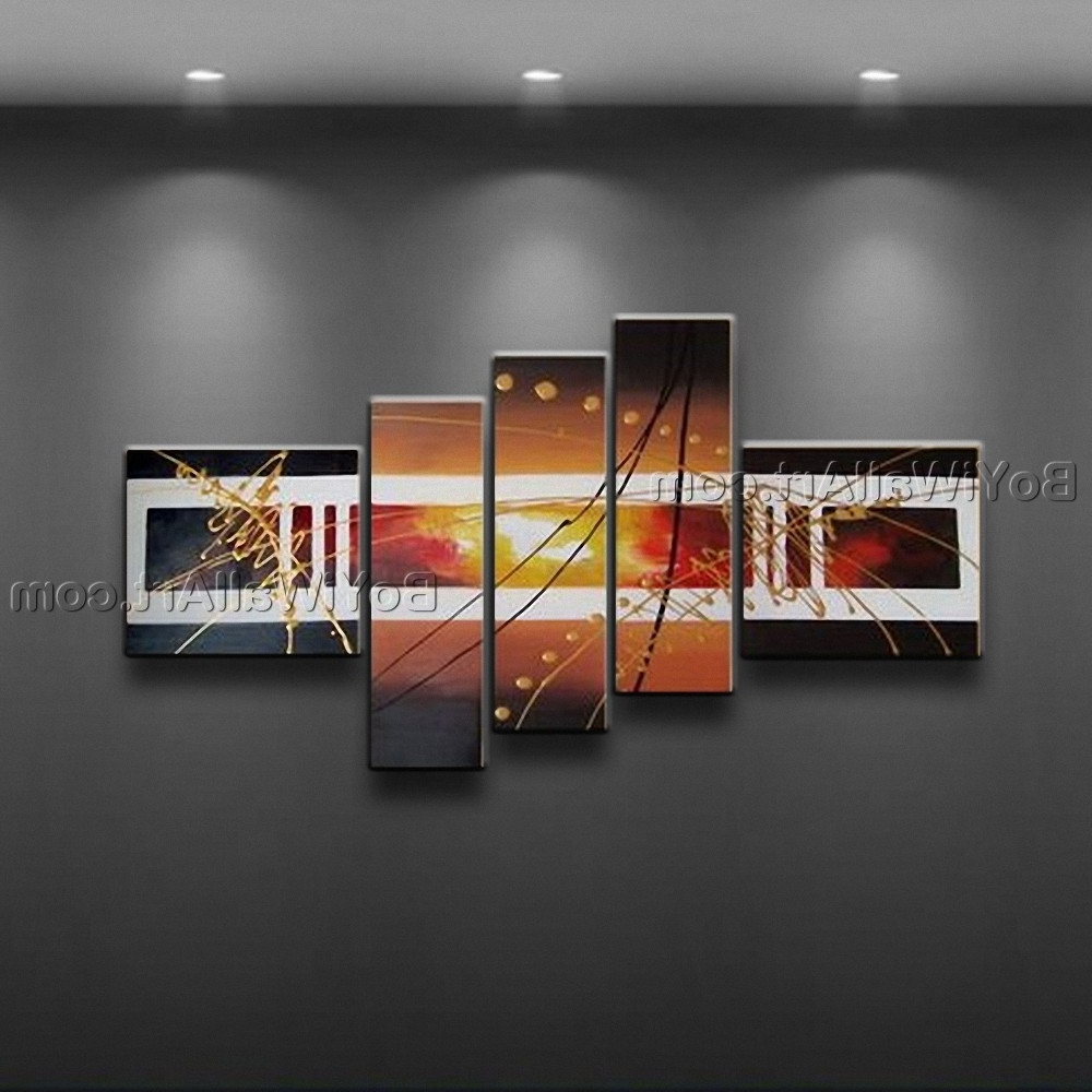 2017 Hand Painted Abstract Painting Canvas Wall Art Framed 5 Pieces Pertaining To Framed Abstract Wall Art (View 1 of 15)