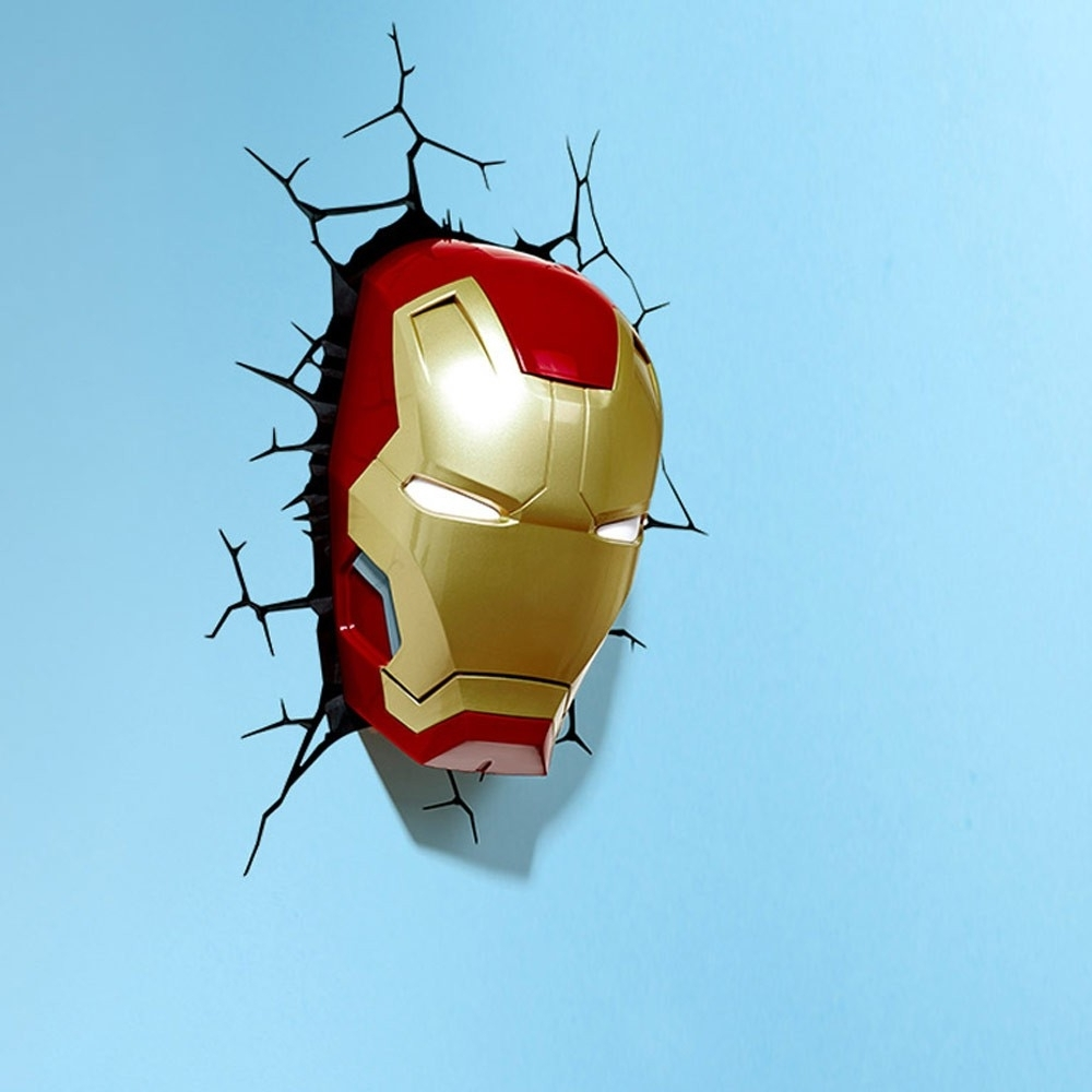 2017 Iron Man Mask 3d Wall Light Genie Gadgets For Iron Man 3d Wall Art (View 3 of 15)