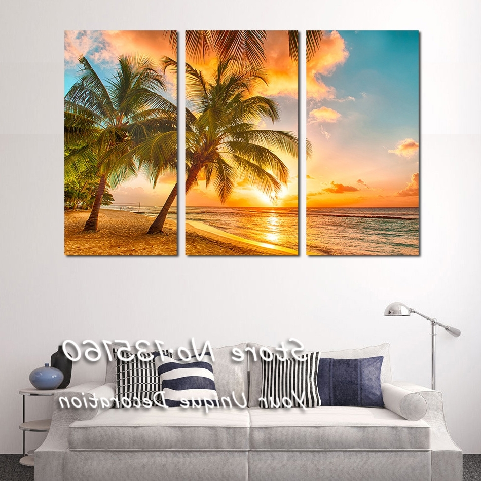 2017 Italian Countryside Wall Art For Beach Painting Picture Triple Paintings For Living Room Bedroom (View 1 of 15)