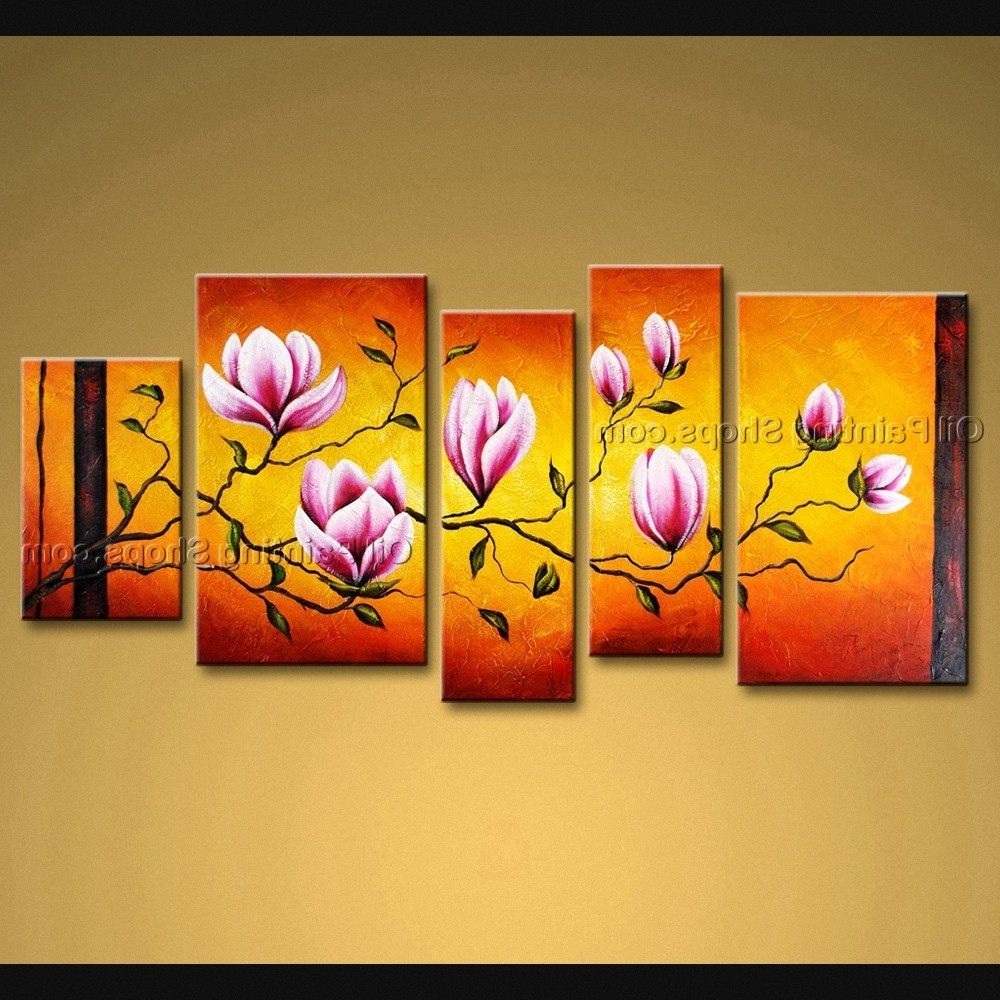 2017 Large Wall Art Modern Abstract Painting Tulip Flower 5 Panels Framed In Abstract Flower Wall Art (View 15 of 15)