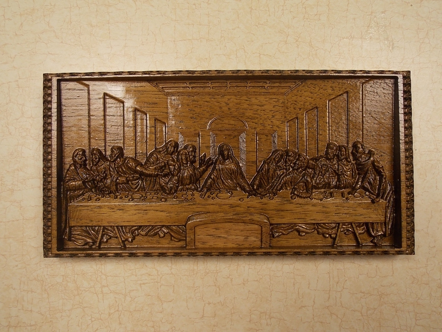 2017 Leonardo Da Vinci, The Last Supper Wall Decor, Cnc 3D Wooden Gifts Intended For Stained Wood Wall Art (View 6 of 15)