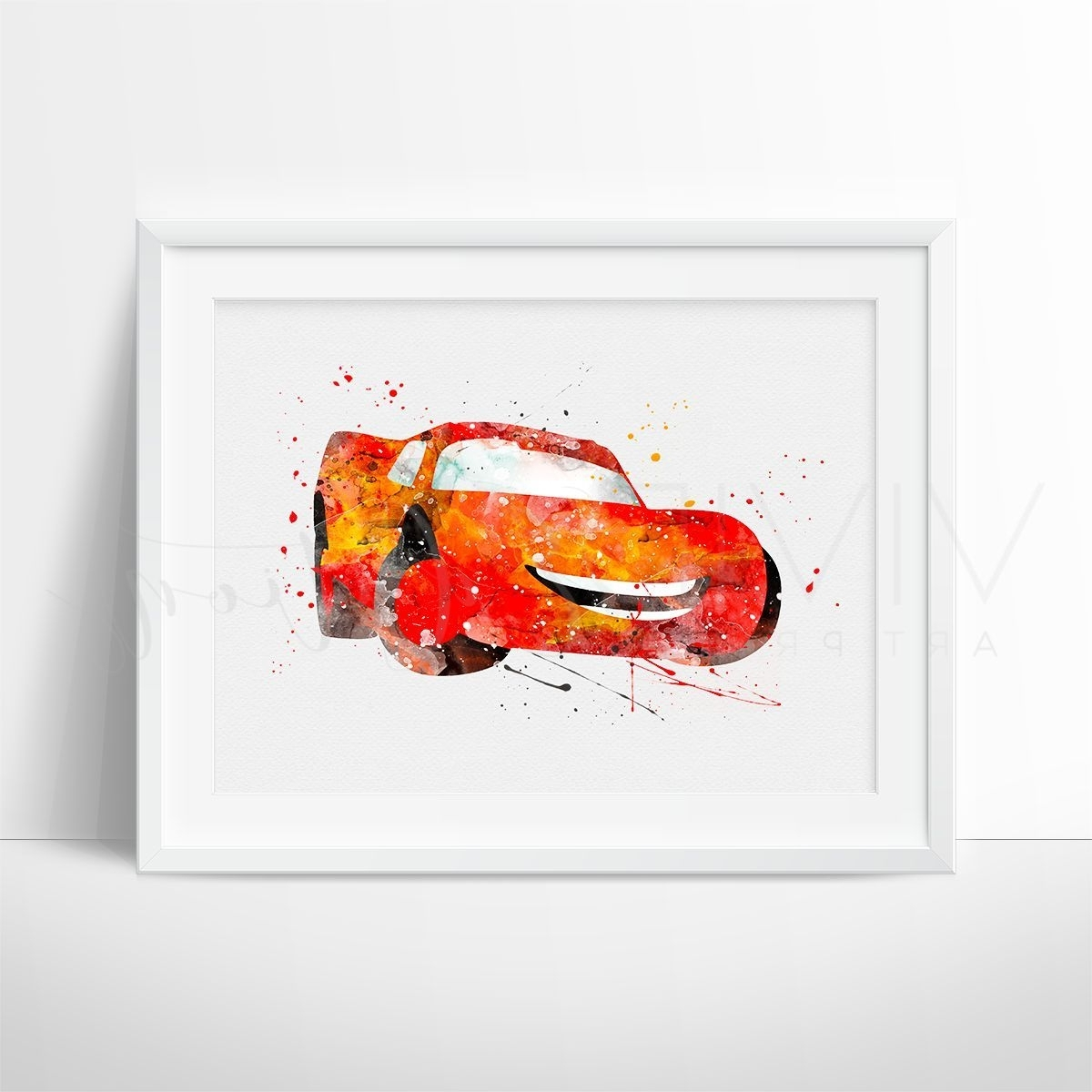 2017 Lightning Mcqueen Wall Art For Lightning Mcqueen, Cars Watercolor Art Print (View 2 of 15)