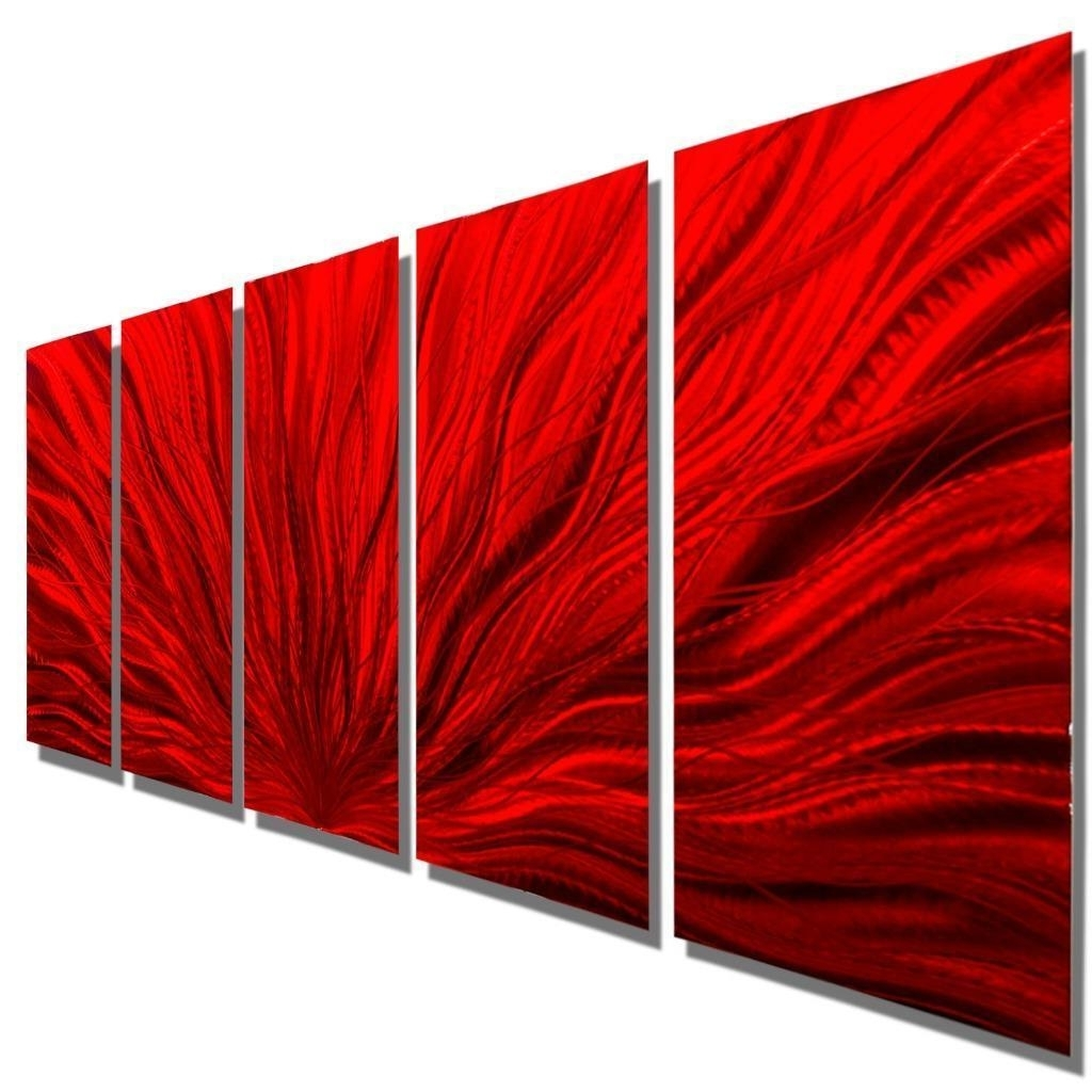 2017 Multiple Panel Wall Art With Regard To Contemporary Multi Panel Wall Sculpture Red Modern Metal Wall Art (Gallery 12 of 15)