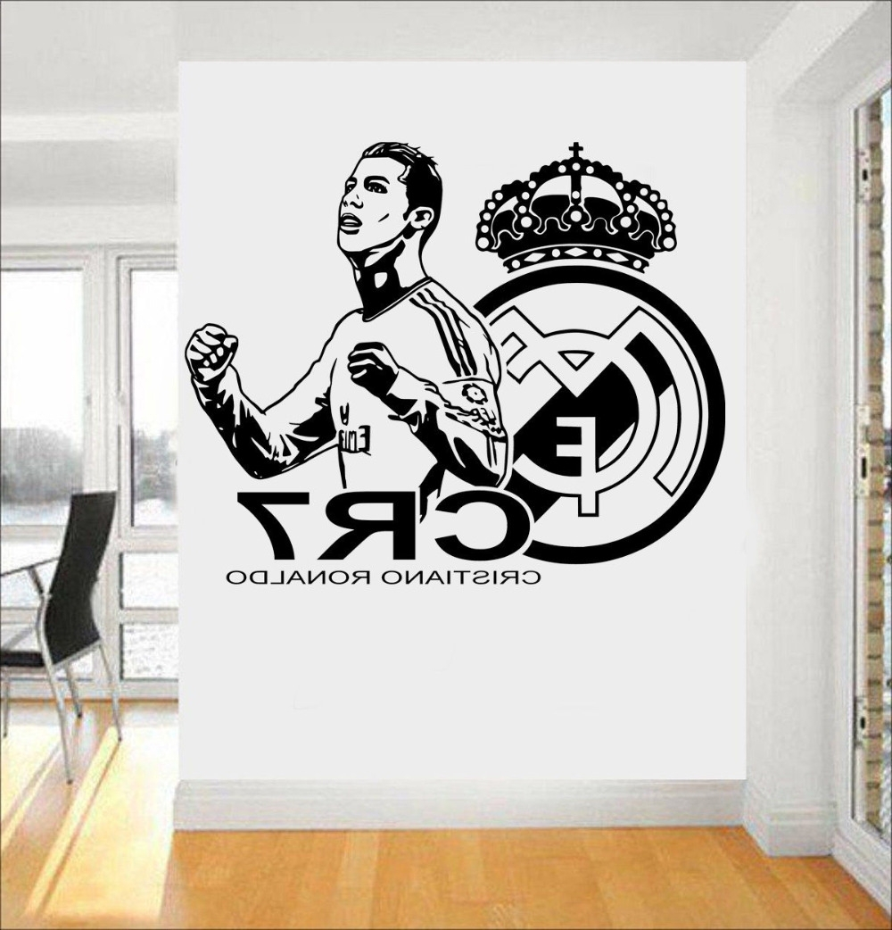 2017 New Design 3D Poster Soccer Star Cristiano Ronaldo Vinyl Wall Pertaining To Recent Football 3D Wall Art (View 2 of 15)