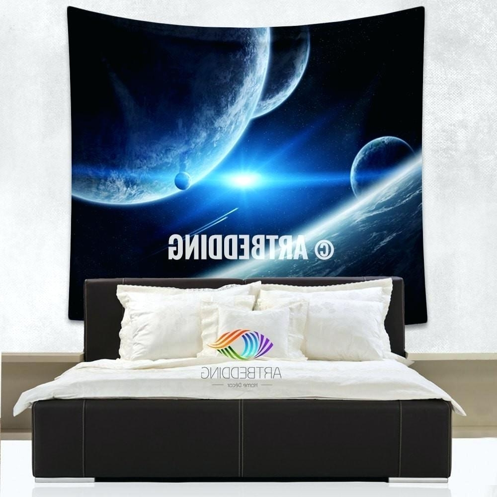 2017 Outer Space Wall Art With Regard To Wall Arts ~ Galaxy Tapestry Blue Planets Wall Tapestry Galaxy (View 8 of 15)