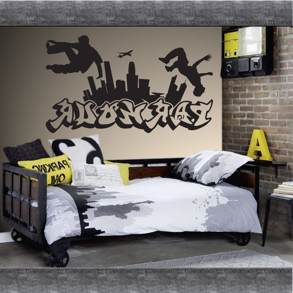 2017 Parkour Free Running Jumping Urban Style Skate Graffiti Art Wall Throughout Personalized Graffiti Wall Art (View 6 of 15)