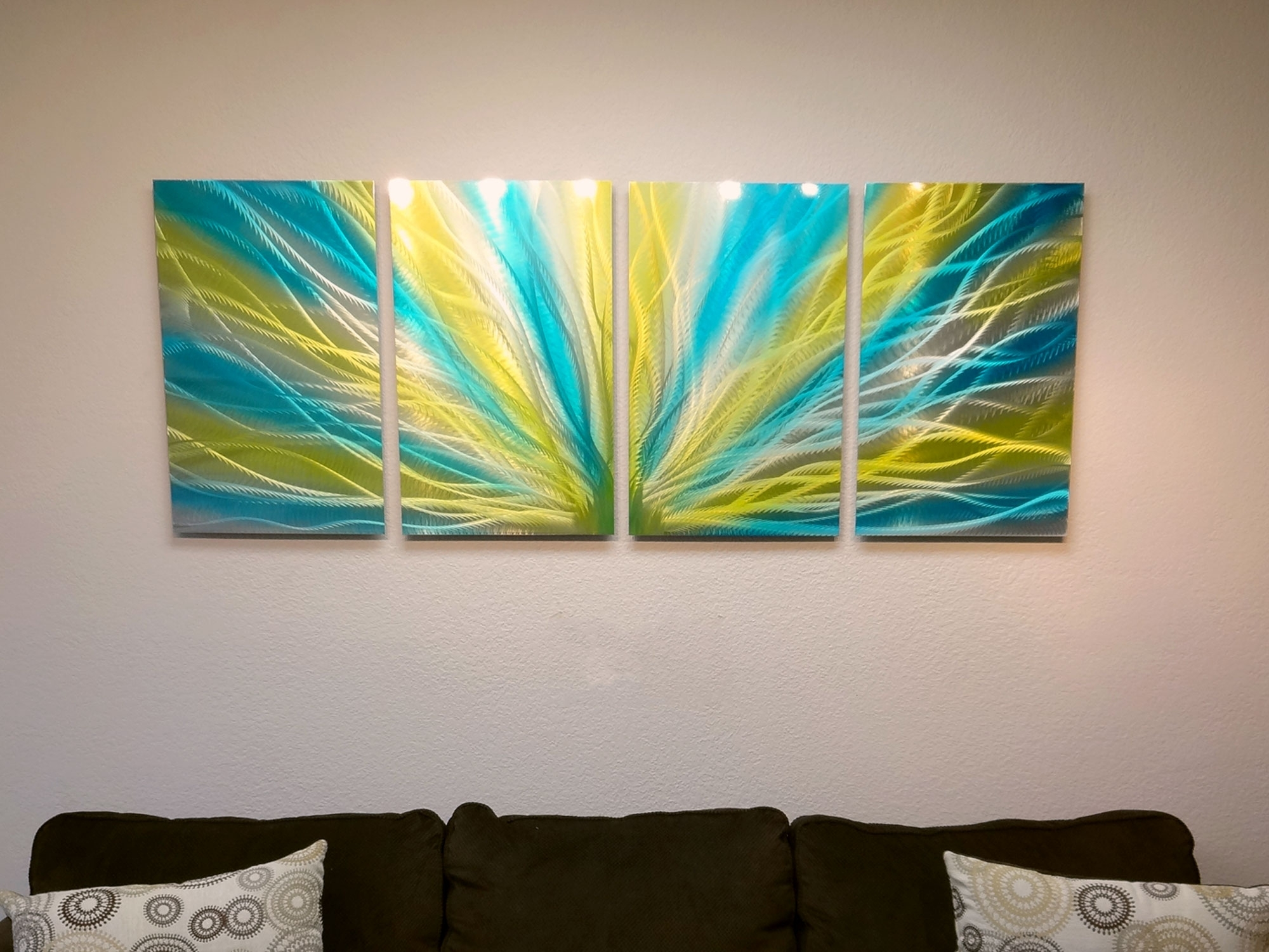 2017 Radiance Blue Yellow  Metal Wall Art Abstract Contemporary Modern For Abstract Leaf Metal Wall Art (View 2 of 15)