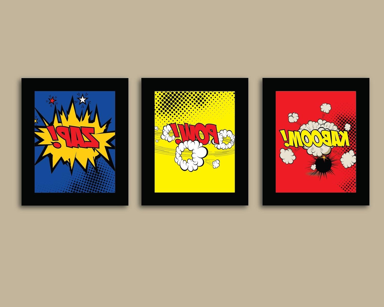 2017 Set Of 3 Comic Superhero Prints – 8X10 Prints – Comic Book – Boys Regarding Superhero Wall Art For Kids (View 1 of 15)