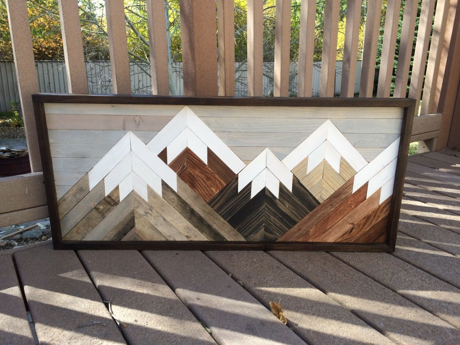 2017 Stained Wood Wall Art Intended For Reclaimed Wood Wall Art Mountain Scene, Mantel Art, Cabin Decor (View 2 of 15)