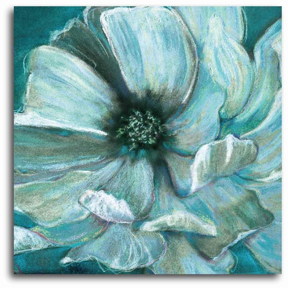 "2017 Teal Flower"" Wall Art Web Sc282T – The Home Depot Within Teal Flower Canvas Wall Art (View 2 of 15)"