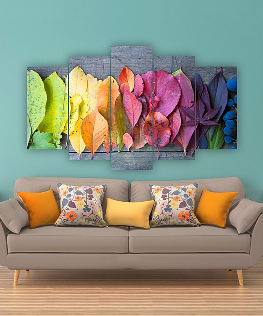 2017 Vibrant Wall Art Intended For Look At This Rainbow Leaves Five Panel Wall Art On #zulily Today (View 1 of 15)
