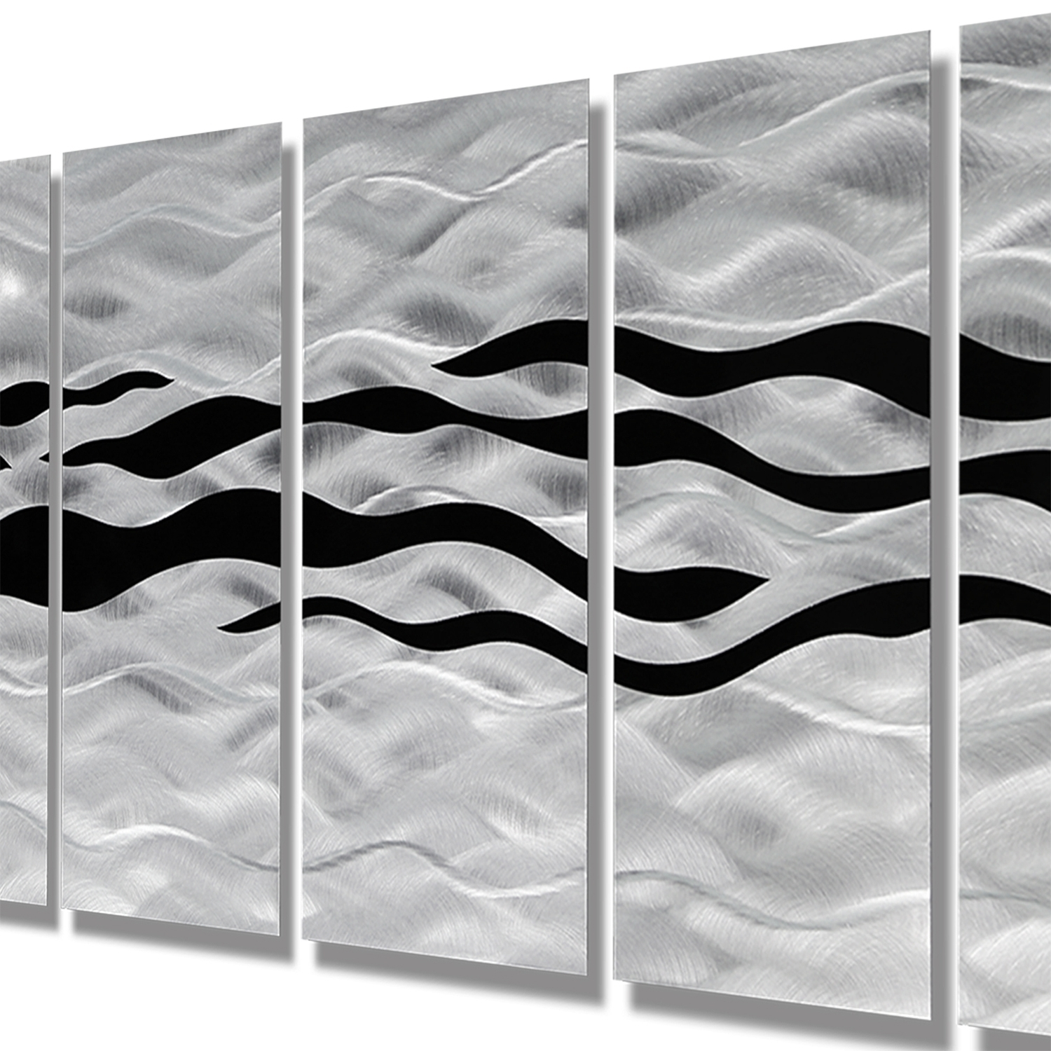 2017 Wild Ways – Silver And Black Modern Metallic Wall Hanging With Regard To Black Silver Wall Art (View 1 of 15)