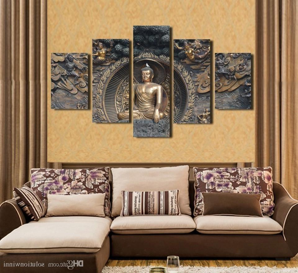 2018 2018 Hd Printed Buddha Statue Painting Wall Art Room Decor Print For 3D Buddha Wall Art (View 1 of 15)
