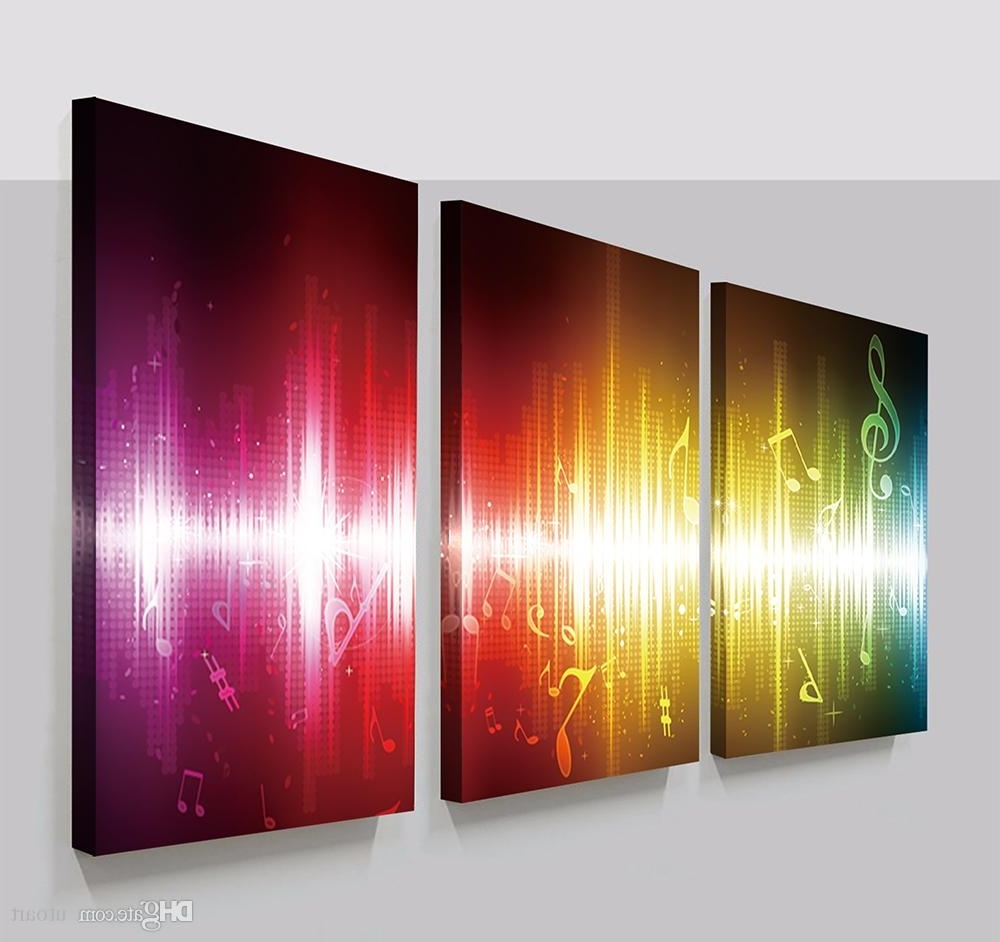2018 3 Panels Beating Music Notes Abstract Canvas Painting Home With Regard To Trendy Abstract Canvas Wall Art Iii (View 8 of 15)