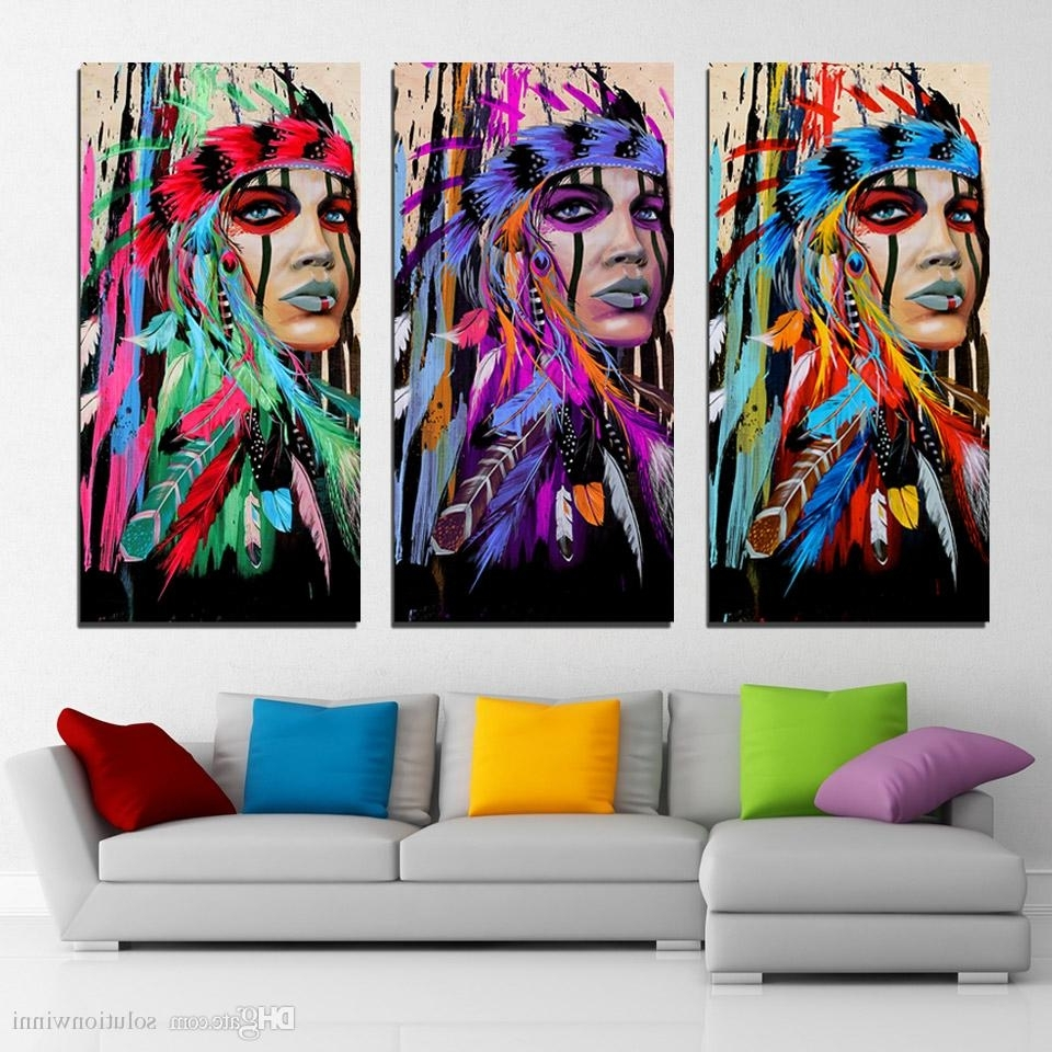 2018 3 Panels Canvas Art Native American Indian Feather Home Decor Throughout Newest Native American Wall Art (View 1 of 15)