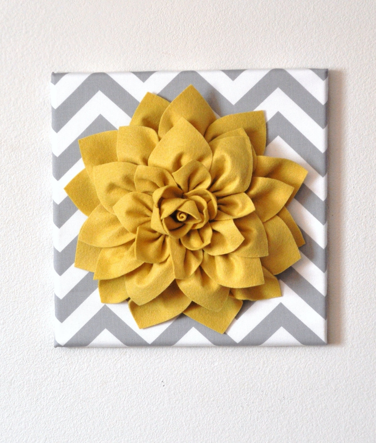 2018 3d Wall Art Canvas Regarding Wall Flower Mellow Yellow Dahlia On Gray And White Chevron 12 X (View 3 of 15)