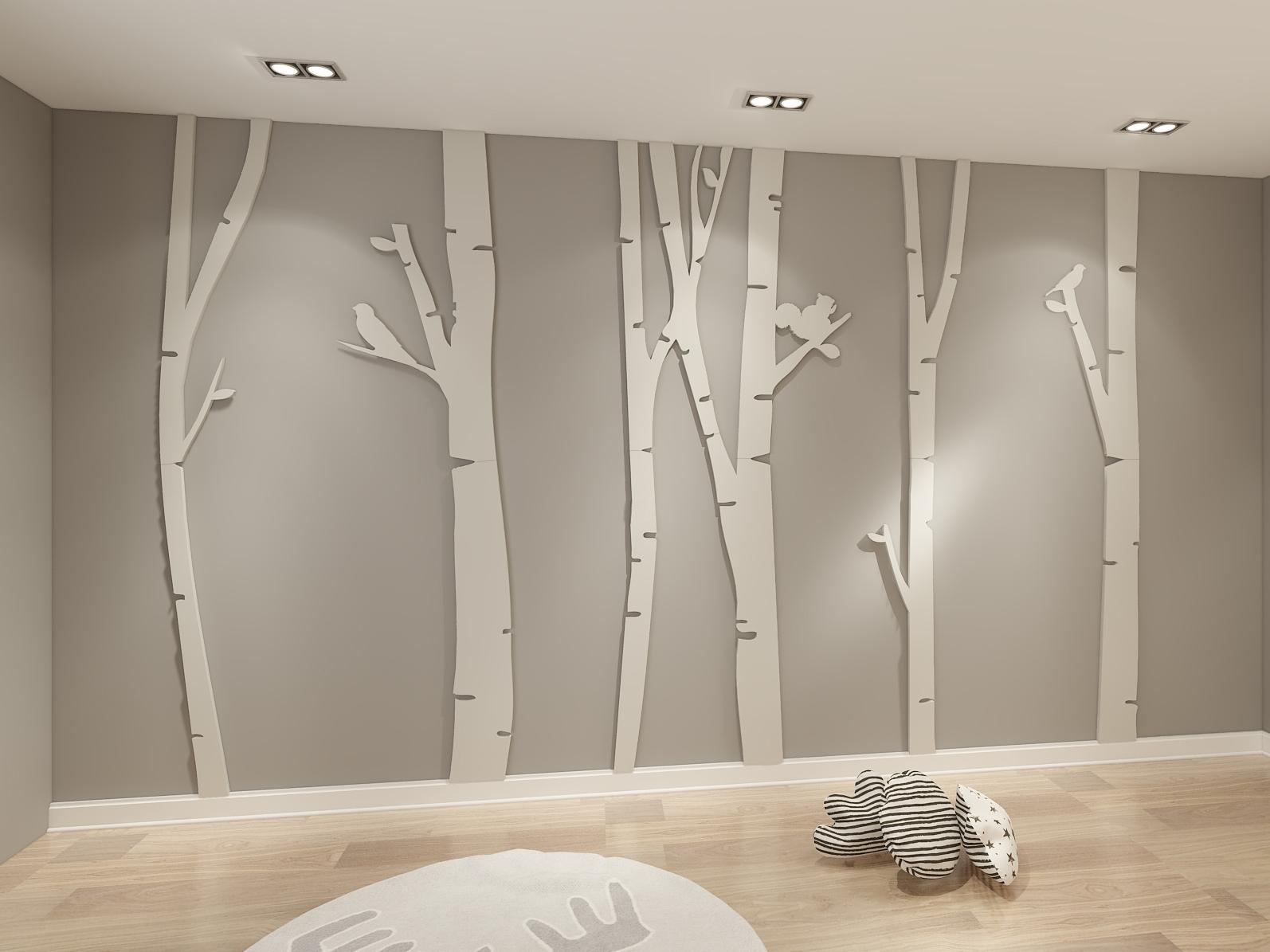 2018 3d Wall Art Wallpaper For Birch Tree 3d Wall Art – Moonwallstickers (View 11 of 15)